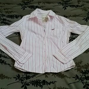 Hollister Pink & White Striped Button Up